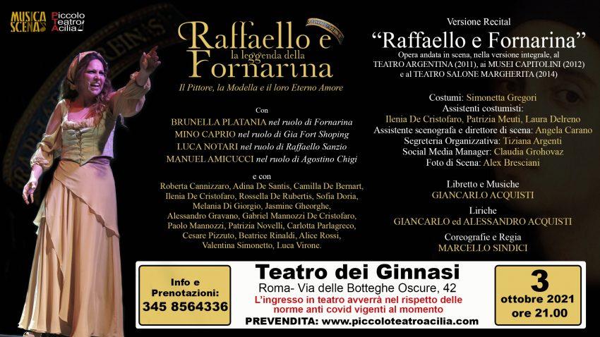 """ROMA: """"Raffaello e Fornarina"""" versione recital al Teatro dei Ginnasi."""